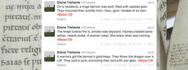 Beowulf in 100 tweets - the twitter feed of Elaine Treharne's #Beow100