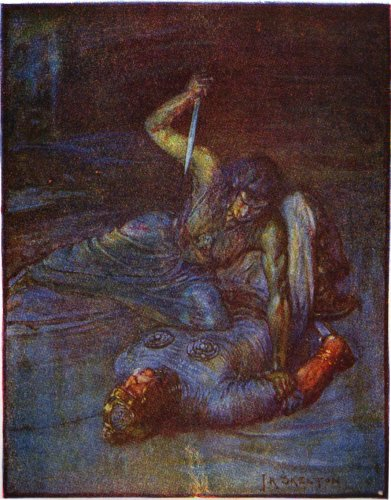 """An illustration of Grendel's mother by J.R. Skelton from Stories of Beowulf (1908) described as a """"water witch"""" trying to stab Beowulf."""
