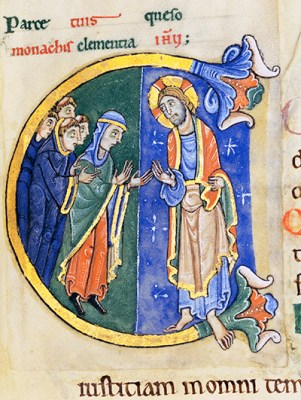 Spare your monks, I beseech you, merciful kindness of Jesus. Christina intercedes for Abbot Geoffrey and the monks of St Albans. (St Albans Psalter, MS St Godehard 1© Dombibliothek Hildesheim)