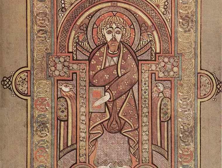 Book of Kells, Folio 28v, Portrait of Matthew.