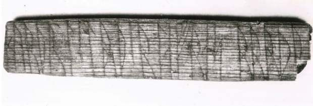 Norse rune code-  Sigurd and Lavran written their names in both the code and the common runes. It helped runologist Jonas Nordby to crack jötunvillur code. (Photo: Aslak Liestøl / Museum of Cultural History, University of Oslo)