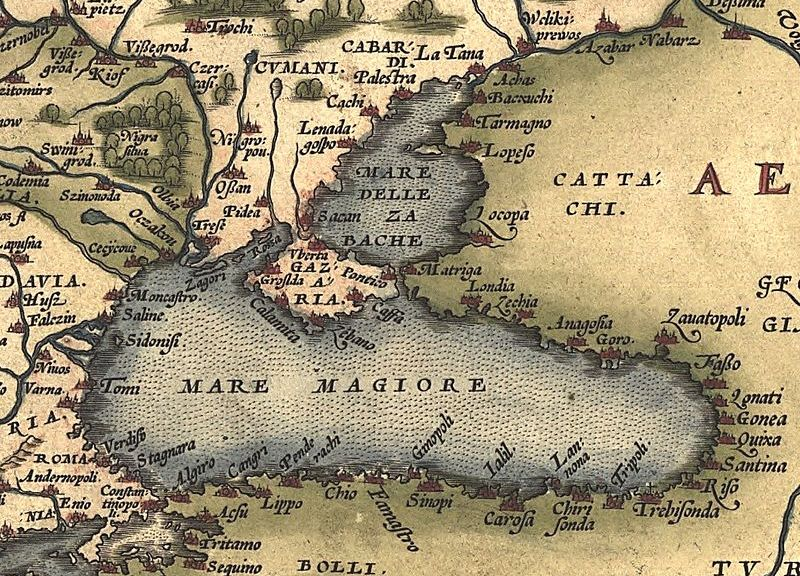 Ukraine and the Black Sea in a map from 1572