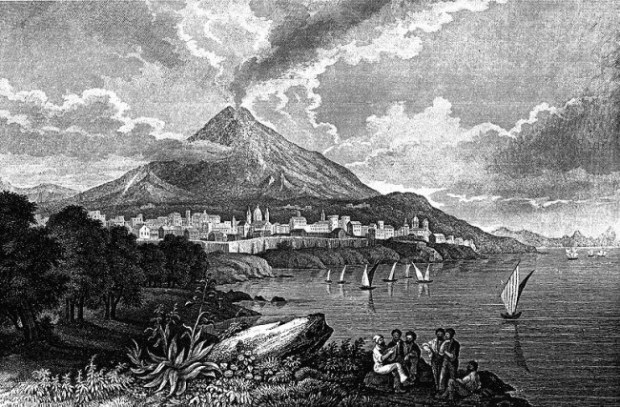 Mt. Etna around 1840. Drawing by C. Reiss, engraving by I.G. Martini.