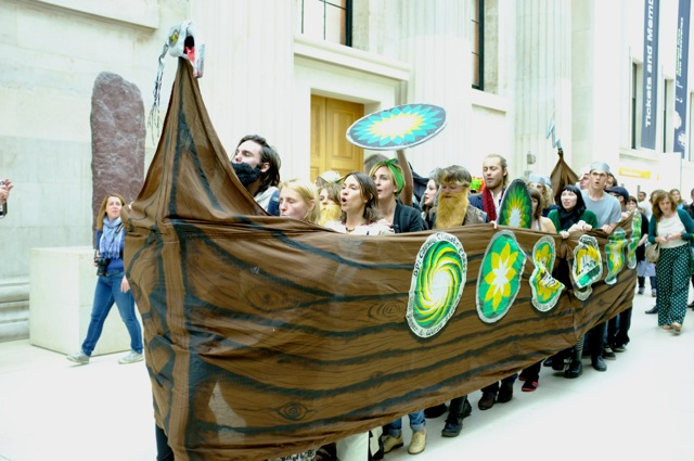 Protesters make a Viking longship in the British Museum – Photo by Hugh Warwick via BP or Not BP