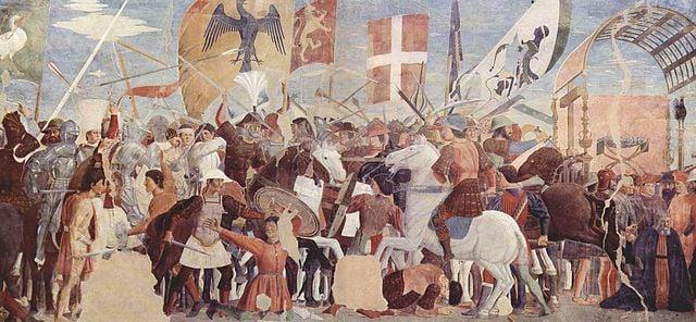 Battle between Heraclius' army and Persians under Khosrau II. Fresco by Piero della Francesca, ca. 1452