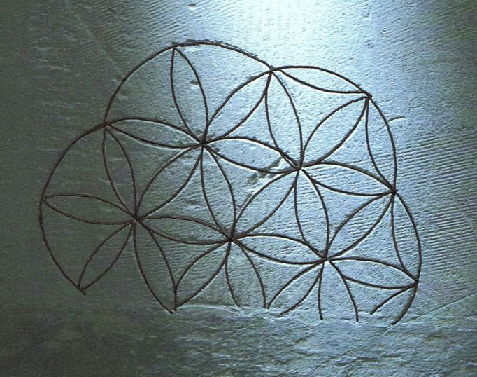 Multiple daisy wheel copy – A complex compass drawn symbol from All Saints church,  Litcham. Such designs are aongst the most common types of graffiti recorded by the survey  and are believed to have functioned as ritual protection markings – designed to ward off the  'evil eye'.