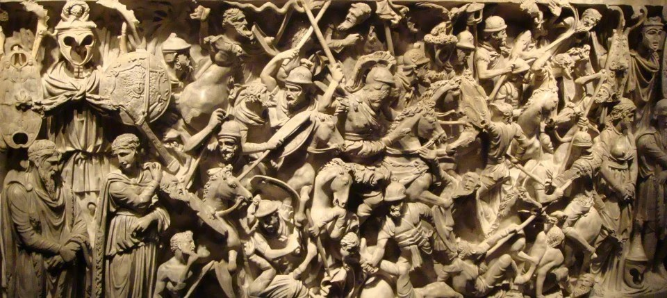 Carved sarcophagus depicting a battle between Romans and Barbarians, Museo Nazionale Romano, Rome,