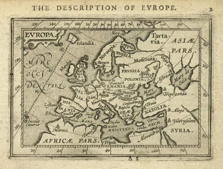 Map of Europe in 1603 by Abraham Ortelius