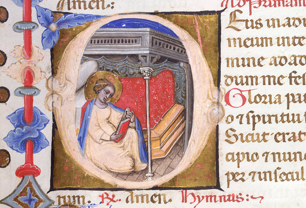 Historiated initial 'D' of the Virgin reading in her bedchamber,
