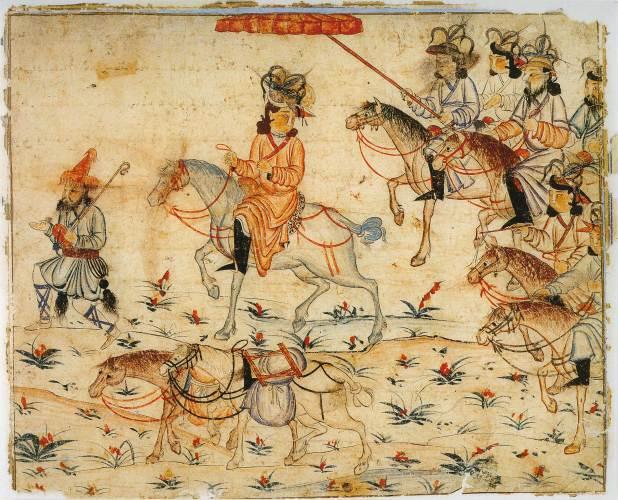 Mongols Travelling - 14th century image of Illustration of Rashid-ad-Din's Gami' at-tawarih