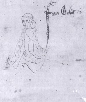 "William of Ockham – Sketch labelled ""frater Occham iste"", from a manuscript of Ockham's Summa Logicae, 1341"