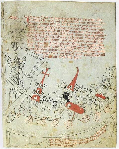 Darstellung des Todes in Sammelhandschrift der Familie Herberstein, Staats- und Stadtbibliothek Augsburg 2° Cod. 25, Bl. 82r