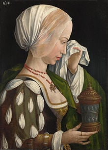 The Magdalen Weeping - by Master of the Legend of the Magdalen, dated 1525.