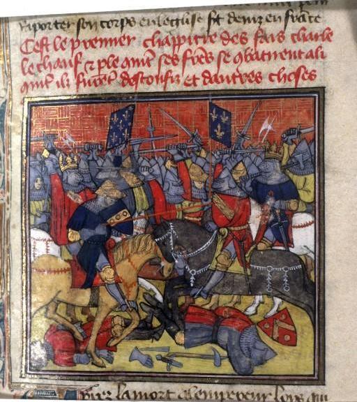 Battle of Fontenoy - The battle as depicted in the fourteenth-century Grandes Chroniques de France. Grandes Chroniques de France, France, Paris, Cote : Français 73 , Fol. 150