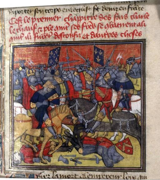 Battle of Fontenoy - The battle as depicted in the fourteenth-century Grandes Chroniques de France. Grandes Chroniques de France, France, Paris, Cote : Français 73 , Fol. 150