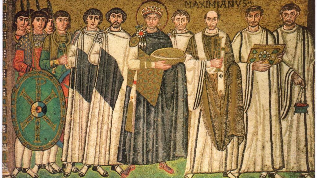 Justinian and his attendants - 526-547 AD (Byzantine) San Vitale, Ravenna