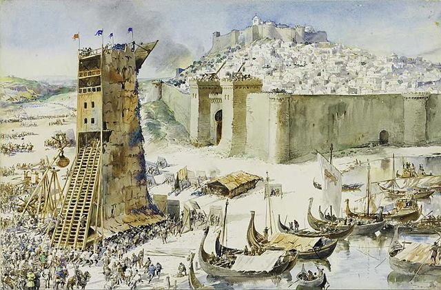 The Conquest of Lisbon painting by Alfredo Roque Gameiro (1917)
