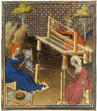Medieval women at work weaving.