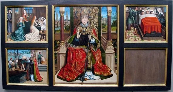 Saint Nicholas, probably by the Master of the Legend of Saint Lucy (c. 1500), with in the background the city of Bruges. The side panels portray some miracles that were ascribed to him, including providing a dowry to save the three daughters of a poor man from slavery/prostitution and providing grain to save the city of Myra from starvation.