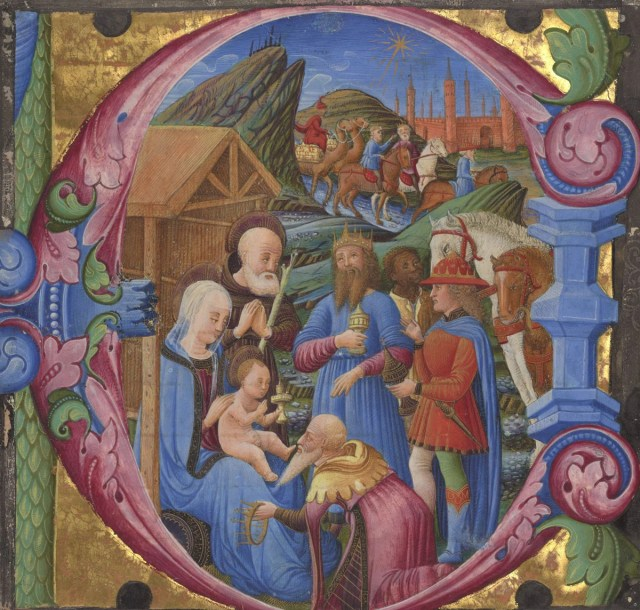 gift giving middle ages - Cutting from a choir book, 1470s - Photo courtesy