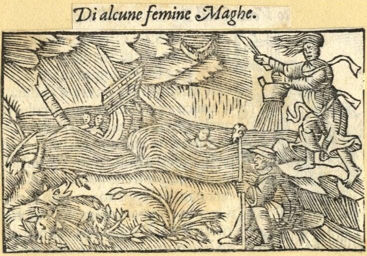 A witch causing a storm from Olaus Magnus's Historia de gentibus Septentrionalibus, 1555.