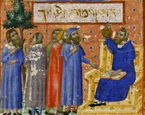 Maimonides teaching students from a 14th century manuscript