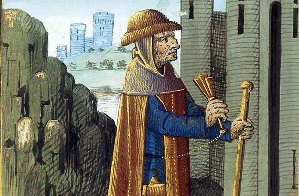 Late fifteenth century painting of a leper shaking a rattle or bell to announce his presence.