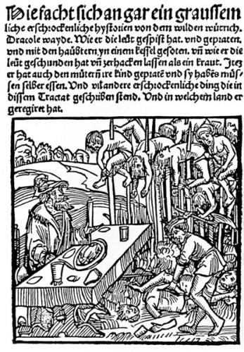 1499 German woodcut showing Vlad III dining among the impaled corpses of his victims.