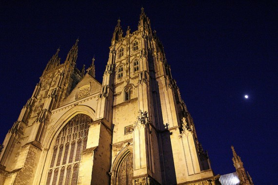 Canterbury Cathedral and Moon - photo by Robyn Cox / Flickr