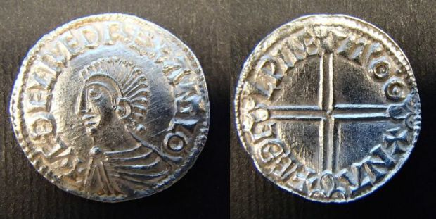 Silver penny of Æthelred II, Last Small Cross type, moneyer Edwi of London.© The Trustees of the British Museum.