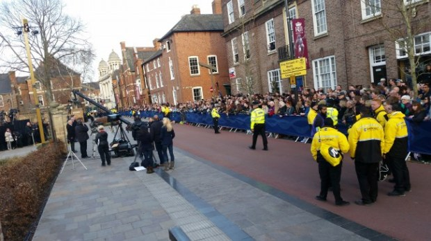 Sandra is waiting with other Richard III watchers  and media