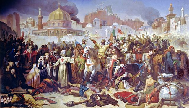 """""""Taking of Jerusalem by the Crusaders, 15th July 1099"""", (oil on canvas), Signol, Emile (1804-92) / Château de Versailles, France / Giraudon / The Bridgeman Art Library"""