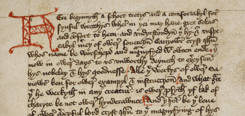 The first page of the Book of Margery Kempe - British Library Add MS 61823