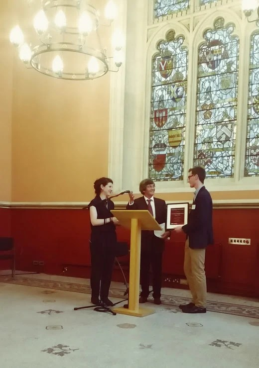 Professor Sophie Ambler and broadcaster Melvyn Bragg presenting the J.C. Holt Undergraduate Essay Prize at the Maughan Library.
