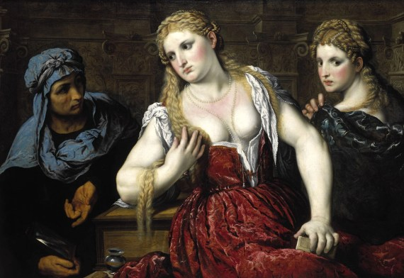 Paris Bordon, Venetian Women at their Toilet, about 1545. These 2 women fit the blonde, pale, dedicated featured and small chested look prized by Venetians at the end of the Middle Ages and early Renaissance.