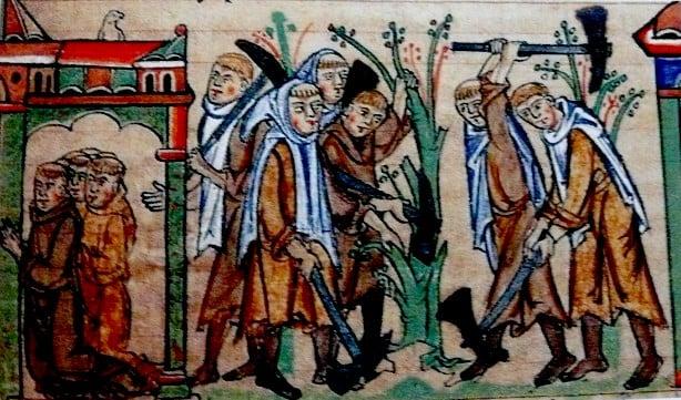 Cistercian monks at prayer at at work - University Library Cambridge Ms. mm 5.31. fol. 113