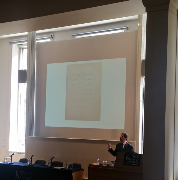 Professor Nicholas Vincent kicking off the 3 day Magna Carta Conference at King's College London.