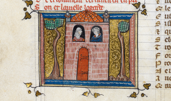 imprisonment - Detail of a miniature of Bel Acueil in prison, being guarded by Vielle (old woman). British Library