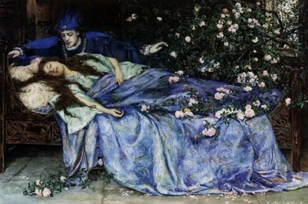 medieval sleeping beauty - by Henry Meynell Rheam
