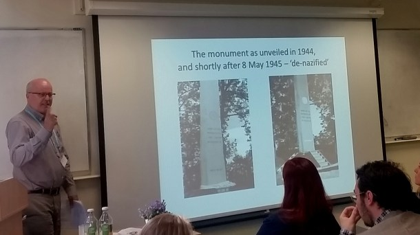 Showing the before and after of the 'de-nazified' Stiklestad monument shortly after the end of WWII. Photo by Medievalists.net