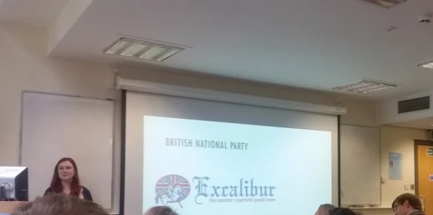Victoria Cooper (University of Leeds) demonstrating how right wing political groups appropriate medieval imagery.