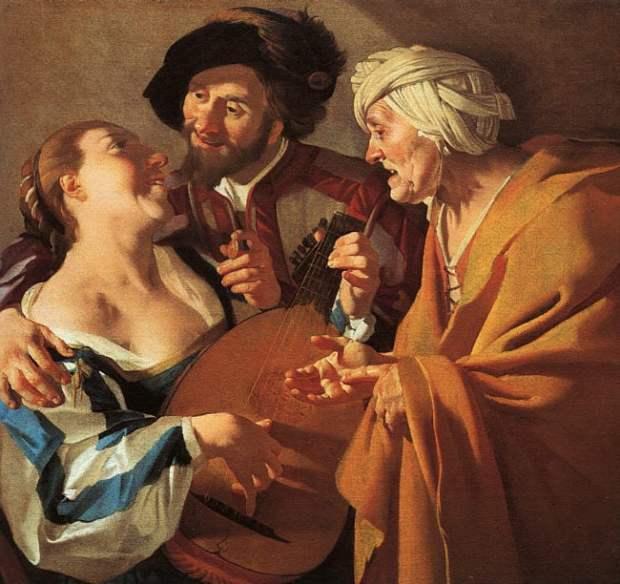 The Procuress (1622) by Dirck van Baburen. Prostitute playing a lute.