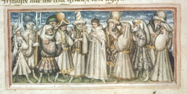medieval crowd - British Library Harley 2278   f. 29v