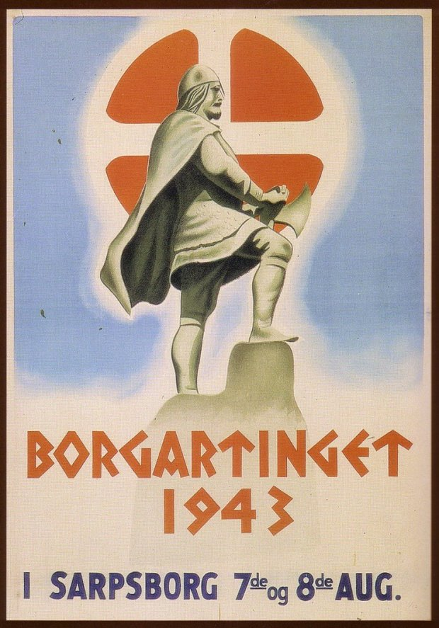 Najsonal Samling Recruitment poster showing St. Olav's shield and using Viking imagery. Photo courtesy of lordautocrat.deviantart.com