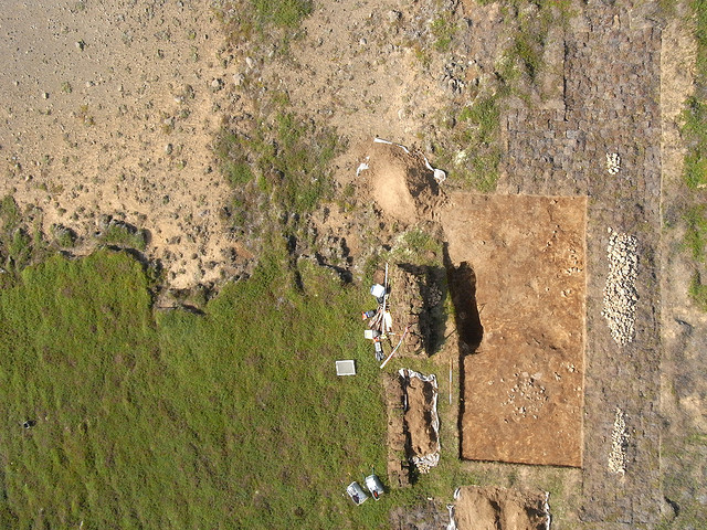 vertical photo from the early stages of this season's excavations of a pagan grave field at Litlunupar in Iceland.  Photo by Dave /Flickr