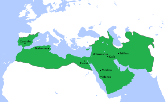 Umayyad Caliphate at its greatest extent, c. AD 750 - Wikimedia Commons
