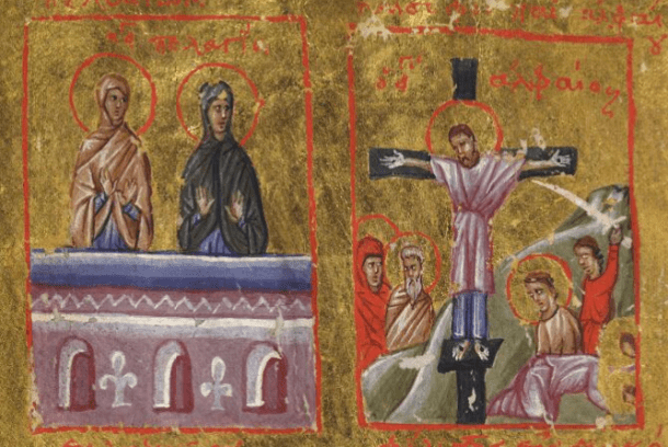 Image from the Menologion, a 14th century Byzantine work, now online courtesy Digital.Bodleian