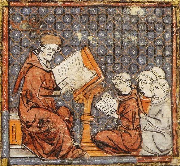 Teaching at Paris, in a late 14th-century Grandes Chroniques de France