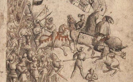 The earliest known depiction of the Battle of Bannockburn in 1314 from a 1440s manuscript of Walter Bower's Scotichronicon