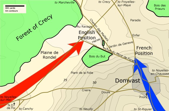 Proposed site of the Battle of Crecy, showing the English and French approaches to the battlefield and the site of the English wagenburg and defensive ditch upon the site of the Herse, superimposed upon the modern topography. Image courtesy Michael Livingston